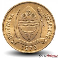 BOTSWANA - PIECE de 5 Thebe - Calao à bec rouge - 1976