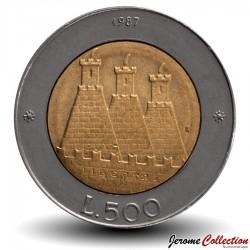 SAINT-MARIN - PIECE de 500 Lire - Reprise de la monnaie Saint-Marinaise - 1987