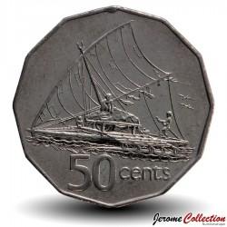 FIDJI - PIECE de 50 Cents - Canoë à voile - 2006 Km#54a