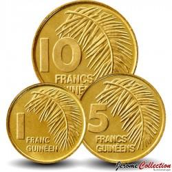 GUINEE- SET / LOT de 3 PIECES - 1 5 10 FRANCS - 1985 Km#52 53 56