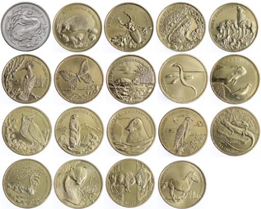 Seria-monet-2-zl-Zwierzeta-Swiata-19-szt